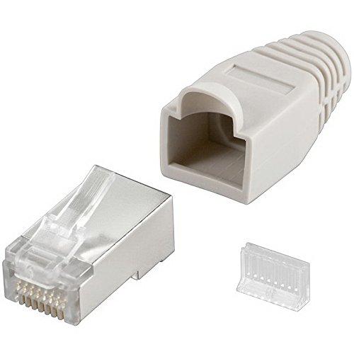 erenLINE® 20 Stück Netzwerk-Stecker RJ45 mit Einfädelhilfe; für Cat6 und Cat5e Patchkabel; 8-polig; vollgeschirmt [LAN Stecker, Patchstecker, Modularstecker]