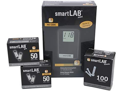 smartLAB mini (mg/dL) Misura glicemia per il diabete | pacchetto con 100 strisce glicemia e 100 lancette pungidito | formato tascabile ideale per viaggiare