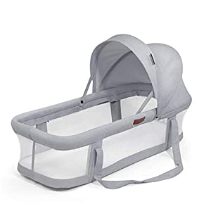 TINGYIN Portable Cot Multifunctional Removable and washable uterine bionic bed, Breathable mesh 100% cotton Baby Nest Bed, For bedroom and travel - Gray   7