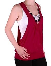 Eyecatch - Valonia Frauen Armellose Plain Damen Twinset Top Fashion