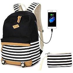 Bolsos de Escuela de Mochila de Lona para niñas Adolescentes y niños Mochila de Estudiante Universitario de Rayas Cabe 15.6 Pulgadas portátil con Puerto de Carga USB-Negro