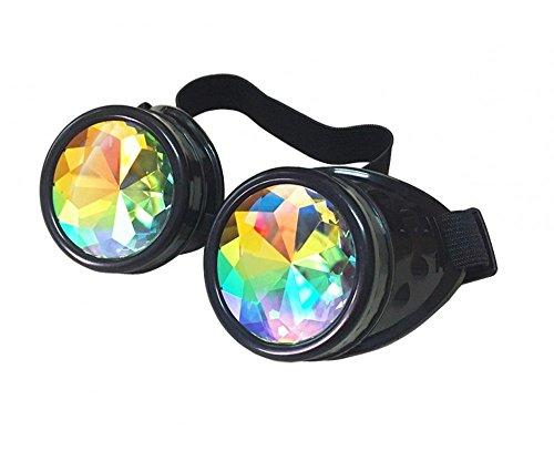 shoperama Steampunk Goggles mit Prisma Kaleidoskop Brille Burning Man Dornen, Farbe:Schwarz ohne Spikes