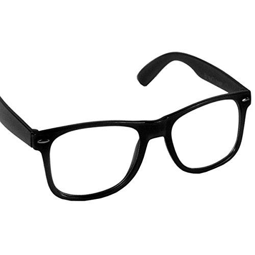 Hornbrille Atzenbrille Nerd Brille Klar oder als Sonnenbrille wayfarer Brille Nerdbrille in verschiedenen Farben (Schwarz)