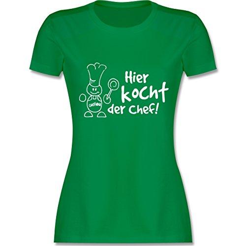 Küche - Hier kocht der Chef - tailliertes Premium T-Shirt mit Rundhalsausschnitt für Damen Grün