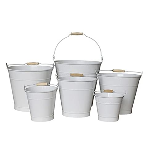 20cm White Zinc Bucket/Metal/Container/Flower Pot/Home/Garden