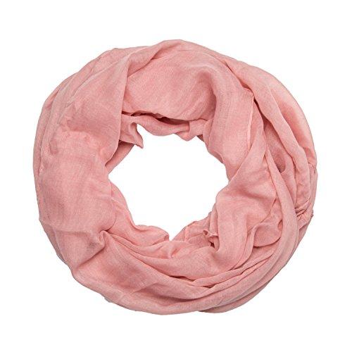 ManuMar Loop-Schal einfarbig | Hals-Tuch in Uni-Farben | einfarbig Rosa als perfektes Sommer-Accessoire | klassischer Damen-Schal - Das ideale Geschenk für Frauen (Rosa Schals Hals)