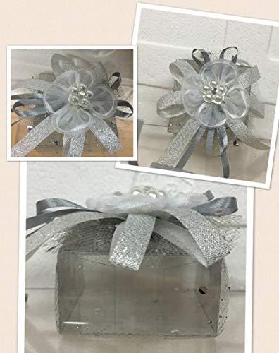 Stock 20 pezzi scatolina portaconfetti in pvc con tulle e fiore argento