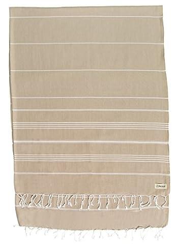 Bersuse 100% coton - Anatolia Couverture ou serviette turque XL - De multiples usages tels que le jeté de lit ou couverture de canapé, couvre-table ou napperon de pique-nique -Drap de bain, serviette de plage en Fouta Peshtemal - Pestemal rayé de manière classique - 155 X 210 cm, Beige