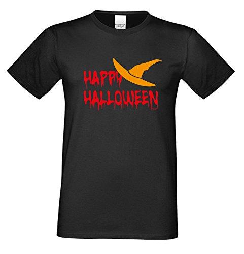 Herren-Halloween-Kostüm-Motiv-Fun-T-Shirt auch in Übergrößen 3XL 4XL 5XL Happy Halloween cooles Funny Shirt Party Outfit Kürbis Monster Gespenster Hexen Farbe: schwarz Schwarz