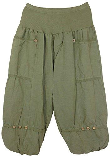Pantaloni 3/4 lino Donna, Made in Italy Verde Canna