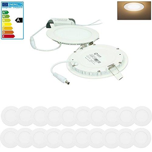 ECD Germany 20-er Pack LED Einbaustrahler 9W - Panel Deckenstrahler ultraslim - 220-240V - SMD 2835 - Ø14.2 cm - warmweiß 3000K - runder Einbauleuchten Spot für Flur, Bad oder Küche 2 X 20 Panel