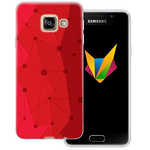 Mobilefox Grafik transparente Silikon TPU Schutzhülle 0,7mm dünne Handy Soft Case für Samsung Galaxy A3 (2016) Grafik Atomium Rot - Cover Gel Hülle