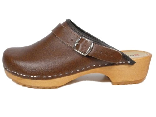Buxa Unisex Beige Holz und Leder Clogs/Pantoletten, Fersenriemen, Größe 41