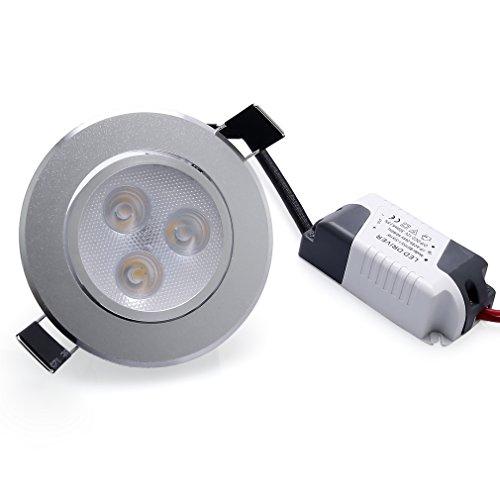 Anten 3W Ultra Flach LED Einbaustrahler Einbauleuchte Deckenleuchte Warmweiß 2800-3200K Deckeneinbauleuchte aus Aluminium 240 lumen AC100-240V Rund Einbauspot mit Trafo