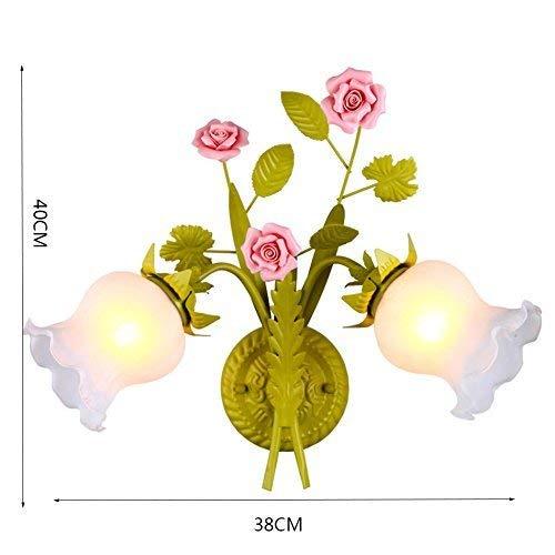 MJY Lámpara de pared de moda Flor rosa, habitación retro con sala de estar Lámpara de pared Aplique...