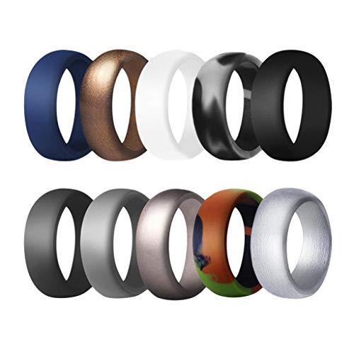Baoblaze 10 Stücke 8,7 Mm Breite Flexible Gummi Silikon Hochzeit Fingerring Band - Mehrfarbig us Size 9