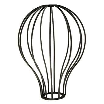 Abat-jour Suspendu Antique Design de Ballon Cage de Lustre Plafonnier Lumière Pendante en Fil Métallique - Noir Mat