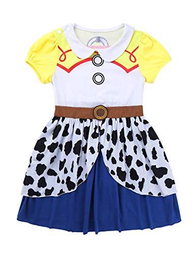 Agoky Mädchen Jessica Cowgirl Kleid Kurzarm Partykleid Freizeit Casual Sommerkleider Knielang Cosplay Kostüm Halloween Outfits Gelb 98-104/3-4Jahre -