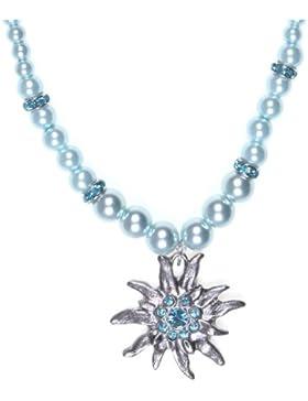 Kette Edelweiß mit Perlen und Strass Trachtenkette Halskette **Oktoberfest Special**