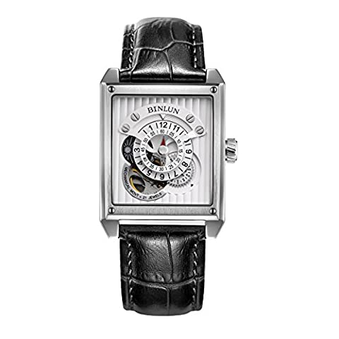 Binlun Unique Unusual Rectangle Silver Men's Automatic Watches Moon and