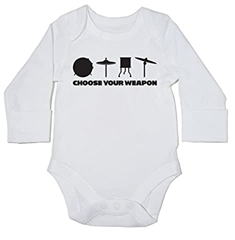 HippoWarehouse Choose Your Weapon (Drums) baby bodysuit (long sleeve) boys girls