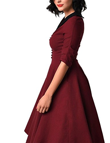 Pinkyee Damen Kleid Weinrot