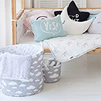 Minene Cotton Storage Basket 2 Piece Set, Large 45 * 40, Small 22 * 18 - Award Winning Large Collapsible Portable Wipe Clean Cotton Basket, Grey with White Clouds, 0.8 kg