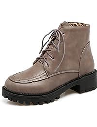 SHOWHOW Damen Martin Boots Kurzschaft Stiefel Mit Absatz Grau 43 EU