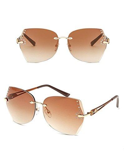 Generic Fashion Women Rimless Sunglasses Diamond Frame Gradient Lens Eyeglasses-color2