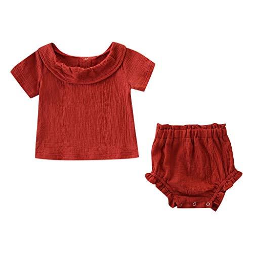 Pwtchenty Bekleidung Baby Mädchen Kleidung Set 2 Stück Tops + PP Hosen Damen Sommer Kurz Rock Einfarbiger Mädchen Shorts Set Niedlich Volltonfarbe Blase Baumwollanzug