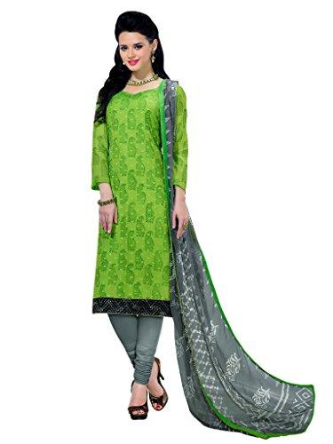 Applecreation Women's Chanderi Cotton Salwar Kameez (Green, 11AKS11003)