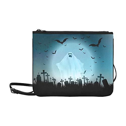 WYYWCY Halloween Landschaft Geisterhafte Figur Friedhof Benutzerdefinierte hochwertige Nylon Slim Clutch Crossbody Tasche Umhängetasche -