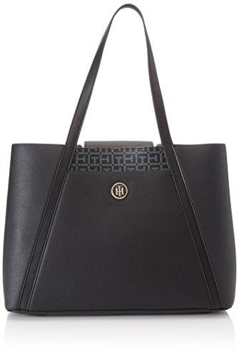 Tommy Hilfiger Damen Tommy Work Bag Stofftasche, Mehrfarbig (Black/Logo), 13x32x48 cm