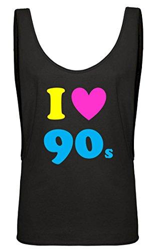 ebe Die 90er Damen Tief Armloch Weste Gr. 46, Schwarz (Neon Fancy Dress Outfits)