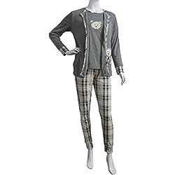 FERETI (XXL) Pijama Mujer Tres Piezas Gris Beige Osos Otoño Oso Animales Invierno Flanelado Polar Conjunto