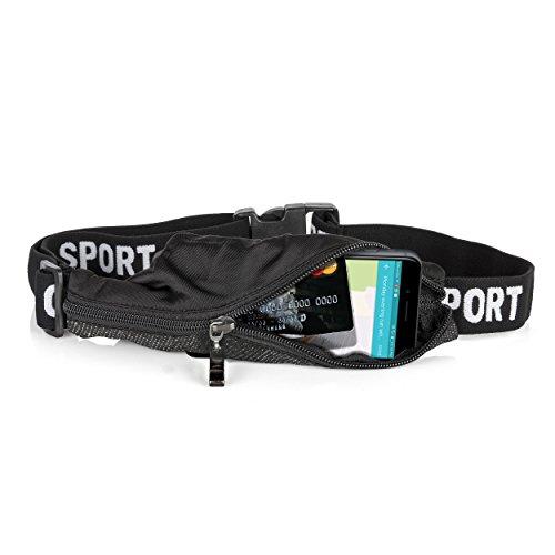 ORAMICS Laufgürtel für Smartphone mit elastischem Band Running Belt zum Joggen, wetterfeste Bauchtasche für Reisen und Sport, Fitness-Gürtel in schwarz
