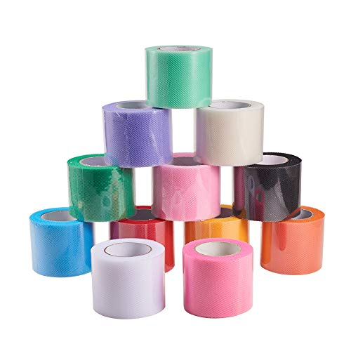 BENECREAT 12 Rotoli 270m Tulle colorato Largo 5cm Bobina di Tessuto Rotolo di Tulle per Gonna Festa Nuziale 12 Colori 22.5m / Rotolo