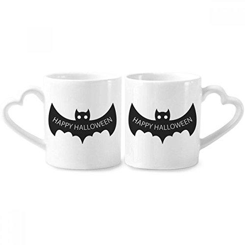 DIYthinker Hallowmas Schwarz Fledermäuse Happy Halloween Paar Tassen Keramik-Liebhaber Becher Herz Griff 12 Unzen Geschenk Mehrfarbig