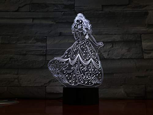 Beauty And The Beast 3D Led Night Light Princess Bella Bedroom Decor Baby Girl Gift Nightlight Table Night Lamp