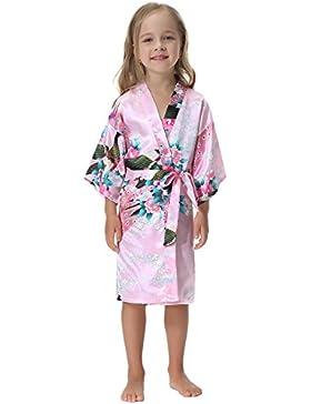 Aibrou 3/4 Albornoz Ninas Corto Kimono Batas Baño Kimonos,Camison mujer corto Lencería Satén Casa Cama cumpleaños