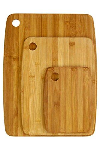 JJA - Lote de 3 tablas de cortar de bambú