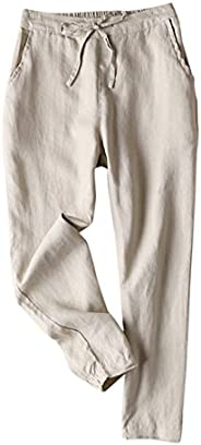 IXIMO Women's Tapered Pants 100% Linen Drawstring Back Elastic Waist Pants Trousers with Poc