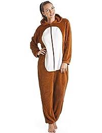 Combinaison pyjama à capuche - ultra douce - imitation renard - marron/blanc