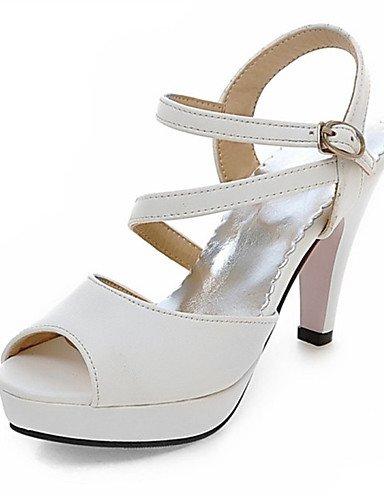 LFNLYX Scarpe Donna-Sandali-Matrimonio / Formale / Casual / Serata e festa-Tacchi-A stiletto-Vernice-Nero / Blu / Rosa / Bianco White