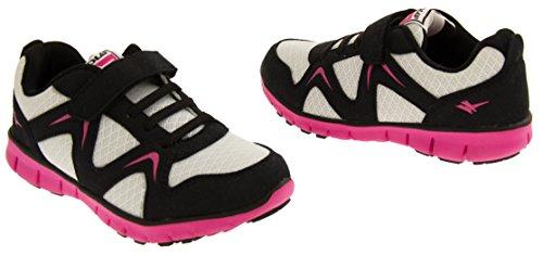 Gola Garçons Filles cours Sneakers Noir et Fuchsia