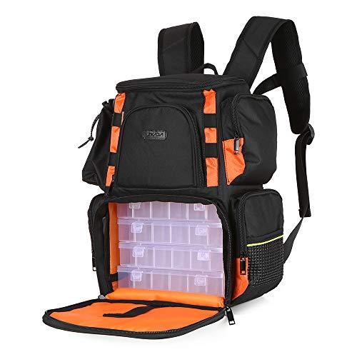 Lixada zaino da pesca borsa da pesca zaino sacchetto di immagazzinaggio con 4 scatole da pesca (34 * 18 * 40cm / 13.4 * 7.1 * 15.7in)