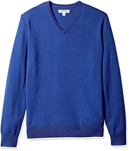 Goodthreads Herren Pullover aus Merinowolle mit V-Ausschnitt, Blau (bright blue Bri), Gr. X-Small - Blue Wolle Pullover Mit V-ausschnitt