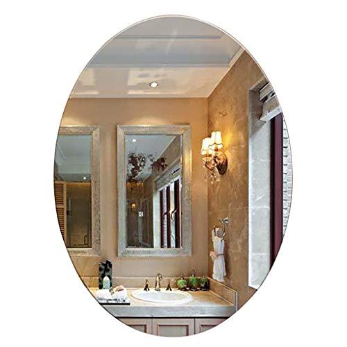 XN Mirror Espejo De BañO Ovalado Montado En La Pared Espejo De Maquillaje Montado En La Vanidad Espejo De Vidrio HD Sin Marco Tratamiento A Prueba De Explosiones para El Dormitorio BañO