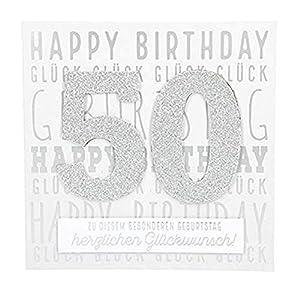 Depesche 8211.006Tarjeta de felicitación Glamour con Ornamento y Purpurina, 50cumpleaños