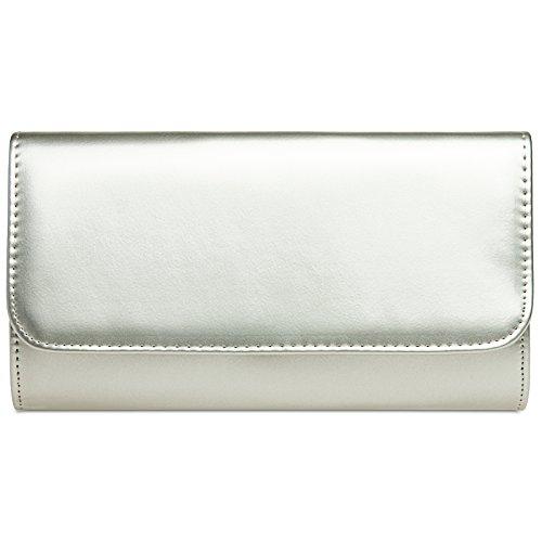 3d9b41303b5b8 CASPAR TA431 elegante Damen Metallic Lack Clutch Tasche Abendtasche mit  langer Kette